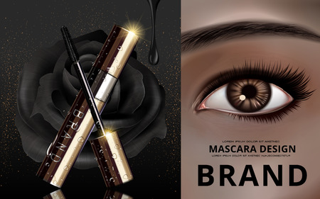 mascara design picture separated into two parts, with an single eye at the right, black rose and brush at the right, 3d illustration Illustration