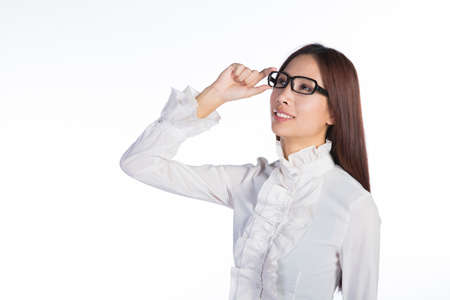 young asian business woman adjusting glasses, isolated white background, half length photo Stock Photo