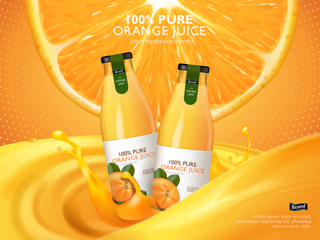 orange juice contained in glass bottles, juice and cutted orange background