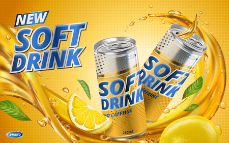 soft drink lemon flavor contained in yellow metal can, orange background and flows Иллюстрация