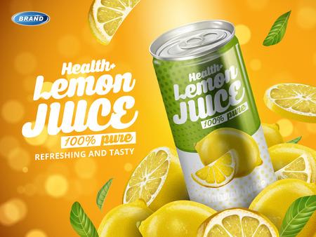 清涼飲料レモン味に含まれている緑色の金属缶、レモンのカット要素、背景をぼかした写真