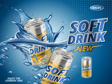 soft drink lemon flavor contained in yellow metal can, water background