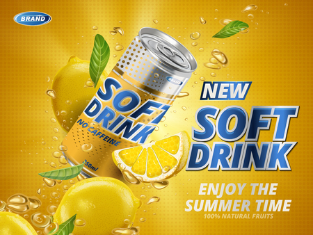 soft drink lemon flavor contained in yellow metal can, orange background Illustration