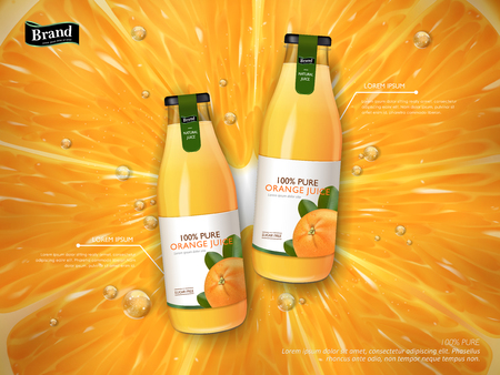orange juice: orange juice contained in glass bottles, juice background