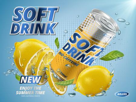 청량 음료 레몬 맛이 노란색 금속에 담겨 수중 배경