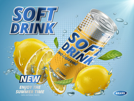 soft drink lemon flavor contained in yellow metal can, underwater background