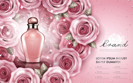 Attractive perfume or cosmetic ads, glossy glass bottle with roses isolated on pink background, 3d illustration