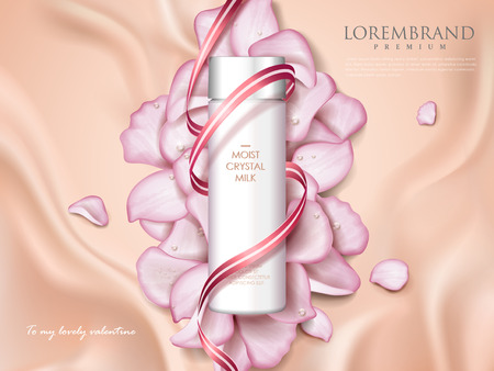 Romantic cosmetic ads, skin care container with ribbon and rose petals isolated on creamy velvet, holiday limited edition in 3d illustration