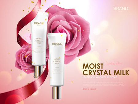 ピンクのボケ背景、3 d イラストレーションの休日限定版に分離されたロマンチックな化粧品の広告、リボンとバラ入りのスキンケア