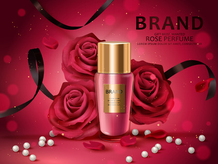 Romantic cosmetic set, rose perfume with red roses, white pearl and black ribbons isolated on red background in 3d illustration Hình minh hoạ