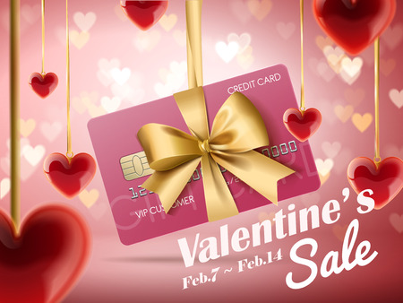 Valentines sale ads, credit card wrapped by ribbon and hanging over bokeh heart shaped background, 3d illustration with red hearts decoration