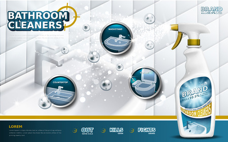 Badkamer schoonmakers advertenties, spray fles met detergent vloeistof gebruikt voor de badkamer in 3d illustratie, bubbels zwevend in de lucht