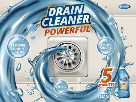 Drain cleaner ads, liquid flushing into drain, detergent bottle with effects written on bubbles isolated on floor in 3d illustration Ilustração