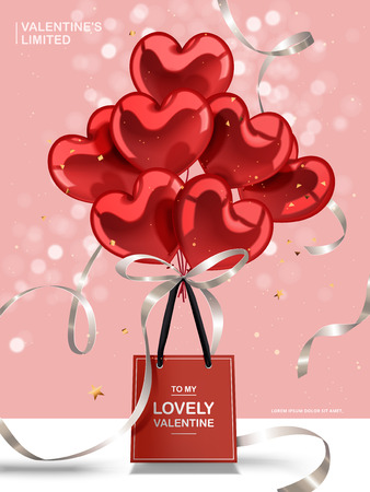 Valentines day concept, red heart balloons and silver ribbons with red paper bag isolated on pink bokeh background, 3d illustration Ilustrace