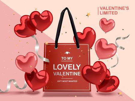 バレンタインデーの概念、赤いハートの風船と幾何学的な背景、3 d イラストレーションで隔離赤い紙袋と銀リボン