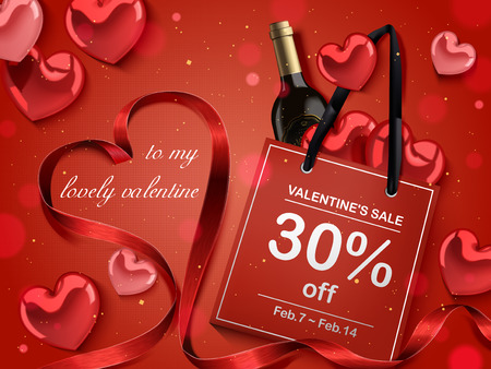 Valentine's day concept, red paper bag with wine bottle and heart shaped decorations isolated on red background, 3d illustration