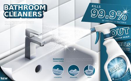 Badkamerreinigers advertenties, spuitfles met afwasmiddel vloeistof die gebruikt wordt voor de badkamer in 3D-afbeelding