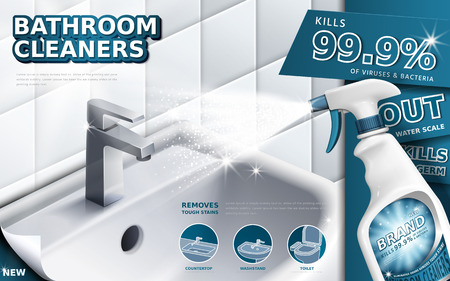 Bathroom cleaners ads, spray bottle with detergent liquid used for bathroom in 3d illustration