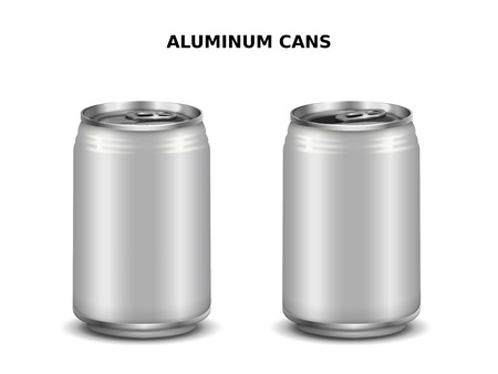 Aluminum cans mockup, two silver cans for design isolated on white background in 3d illustration Illustration