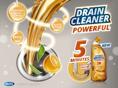 Drain cleaner ads, liquid flushing into drain with orange scent, detergent bottle in 3d illustration