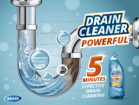 Ontstopper advertenties, voor en na het effect in afvoerbuis, realistische fles afwasmiddel geïsoleerd op een blauwe achtergrond in 3D-afbeelding