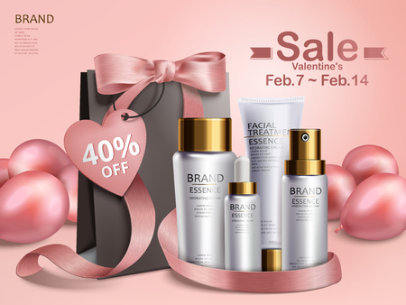 Valentines day sale, cosmetic gift set with black paper bag and pink balloons, 3d illustration