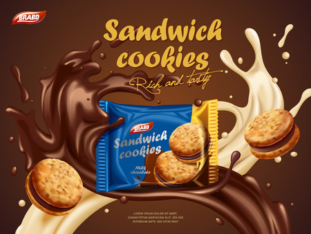 Sandwich cookies ads, milk chocolate flavor with tasty liquid twisted in the air and package in the middle in 3d illustration Illustration