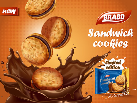 ad: Sandwich chocolate cookies ad, delicious cookies dive into chocolate liquid with splashes, biscuit package design on orange background in 3d illustration Illustration