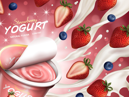 Fruity yogurt ads, appetizing open yogurt with cream, strawberry and blueberry floating in the air, 3d illustration isolated on bokeh background