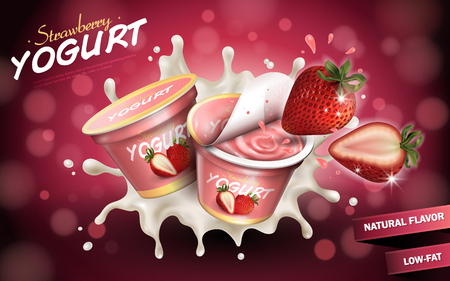 Strawberry yogurt ads, appetizing fruit yogurt with cream texture and strawberry splashing in the air, 3d illustration isolated on bokeh background