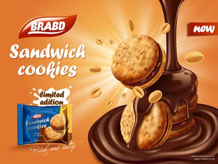 샌드위치 초콜릿 쿠키 광고, 쿠키 및 견과류 요소, 비스킷 패키지 디자인 오렌지 배경에 적열하는 효과 3D 그림에서 초콜릿 흐르는