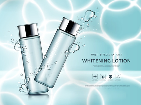 Whitening lotion ads, watery glass bottles with lotion isolated on swimming pool with sun ray in 3d illustration 일러스트
