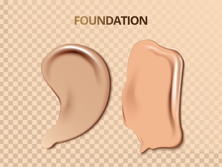 Foundation cream texture, cosmetic base isolated on transparent background in 3d illustration