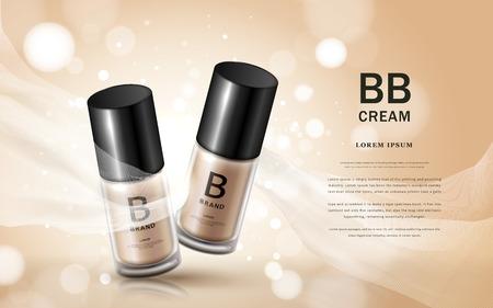anuncios de crema BB, dos botellas de vidrio con base cosmética y la textura de seda flotando en el fondo en 3d Ilustración de vector