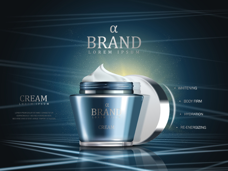 Cosmetic cream ads, blue glossy container with white cream texture isolated on modern laser blue background in 3d illustration
