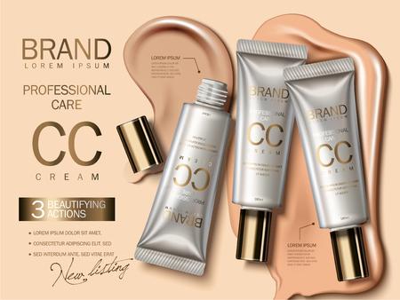 プロフェッショナル CC クリーム広告、3 d イラスト、魅力的な化粧品の広告の背景に液体の質感とプラスチック製のチューブで財団