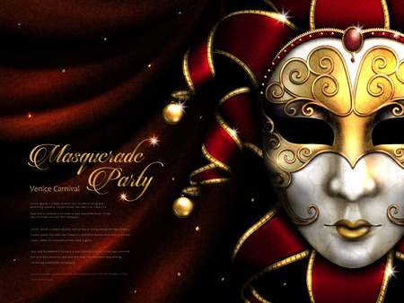 Masquerade party poster, exquisite carnival mask with golden eye mask and decorative elements isolated on scarlet curtain in 3d illustration