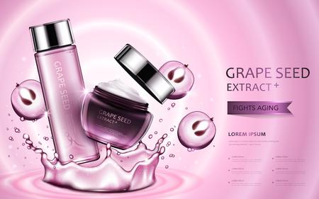 Traubenkern-Extrakt kosmetische Anzeigen, schöne Container mit Zutaten und Spritzwasser-Elemente in 3D-Illustration Standard-Bild - 73274058