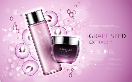Grape seed extract, cosmetic ads with grape seed and bubbles elements in 3d illustration