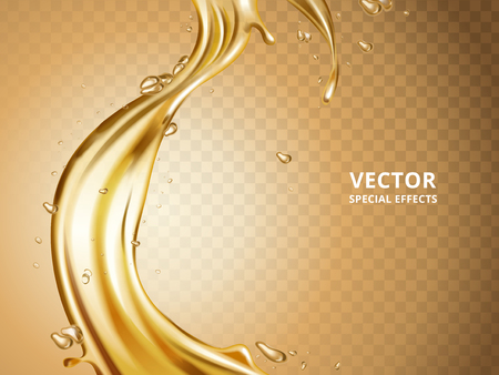 Gold fluid flow element, can be used as special effect, 3d illustration Ilustração