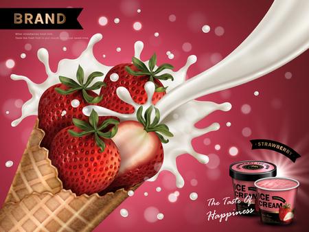 Aardbeien smaak ijs ad, geïsoleerde rode achtergrond, 3d illustratie