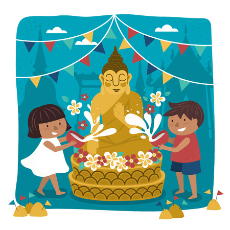Songkran festival illustratie met kinderen gieten water op Boeddhabeeld, tempel achtergrond