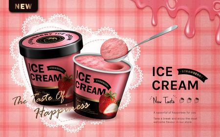 strawberry flavor ice cream ad, isolated pink tartan background, 3d illustration Vettoriali
