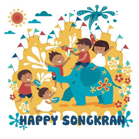 Songkran festival illustratie met kinderen spelen met olifant en water, witte achtergrond