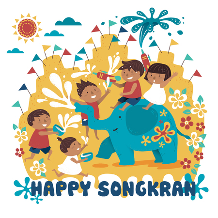 songkran festival illustration with kids playing with elephant and water, white background