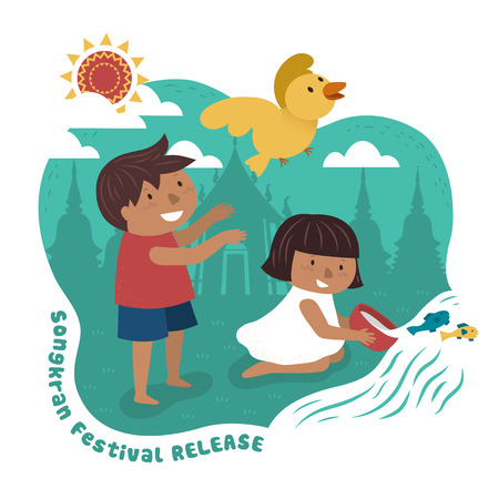 songkran festival illustration with kids releasing animals to the wild, temple background