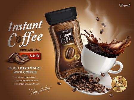 Instant-Kaffee Anzeige, mit Kaffee splash Elementen, brauner Hintergrund, 3D-Darstellung