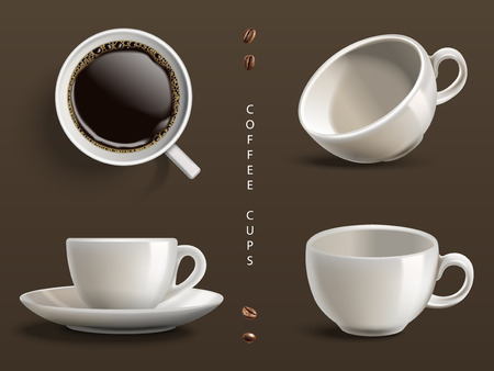 four coffee cups, gray background, 3d illustration