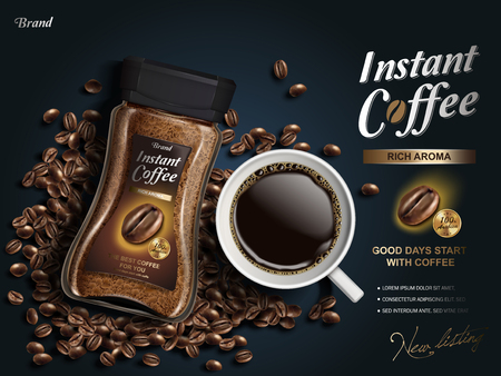 instant coffee ad, with coffee bean elements, navy blue background, 3d illustration Ilustrace