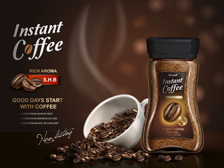 best ad: instant coffee ad, with coffee bean elements, bokeh background, 3d illustration Illustration